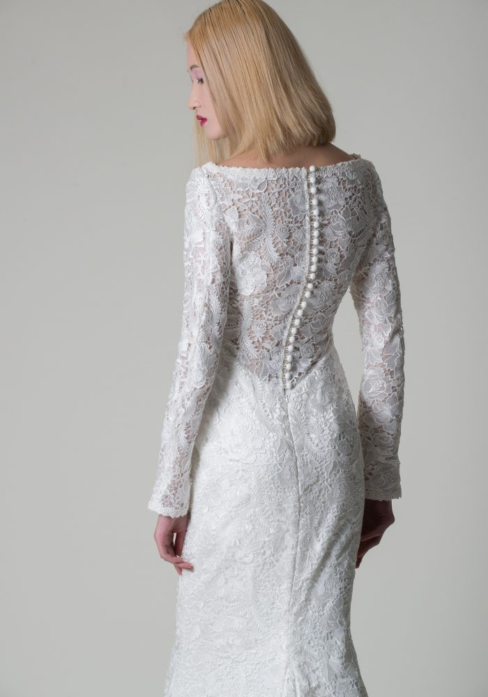 slinky lace wedding dress