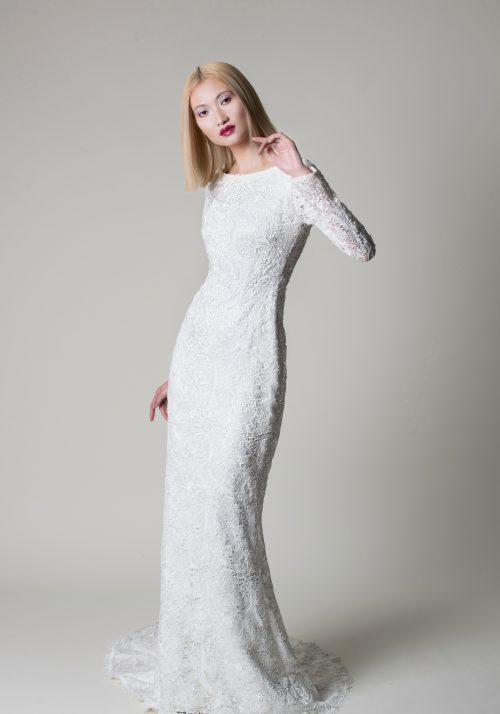 slinky lace wedding dress