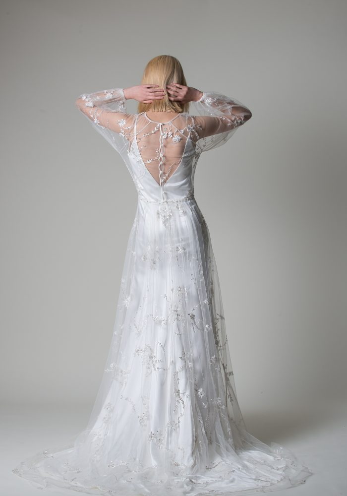 tulle wedding dress with silver embroidery
