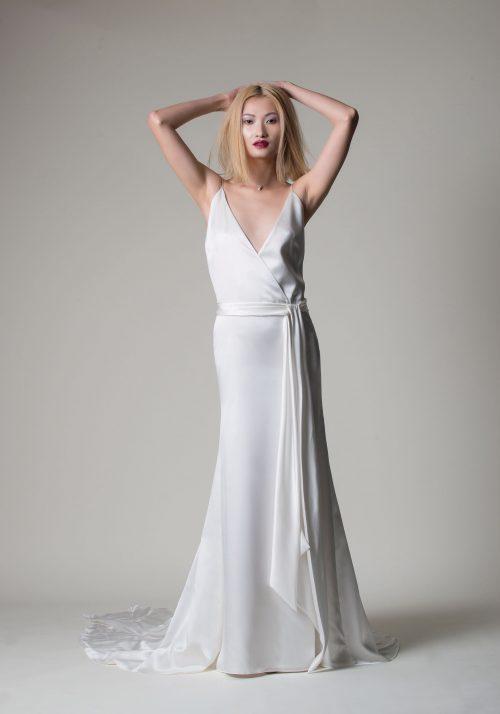 wedding dress in silk satin . Boho style