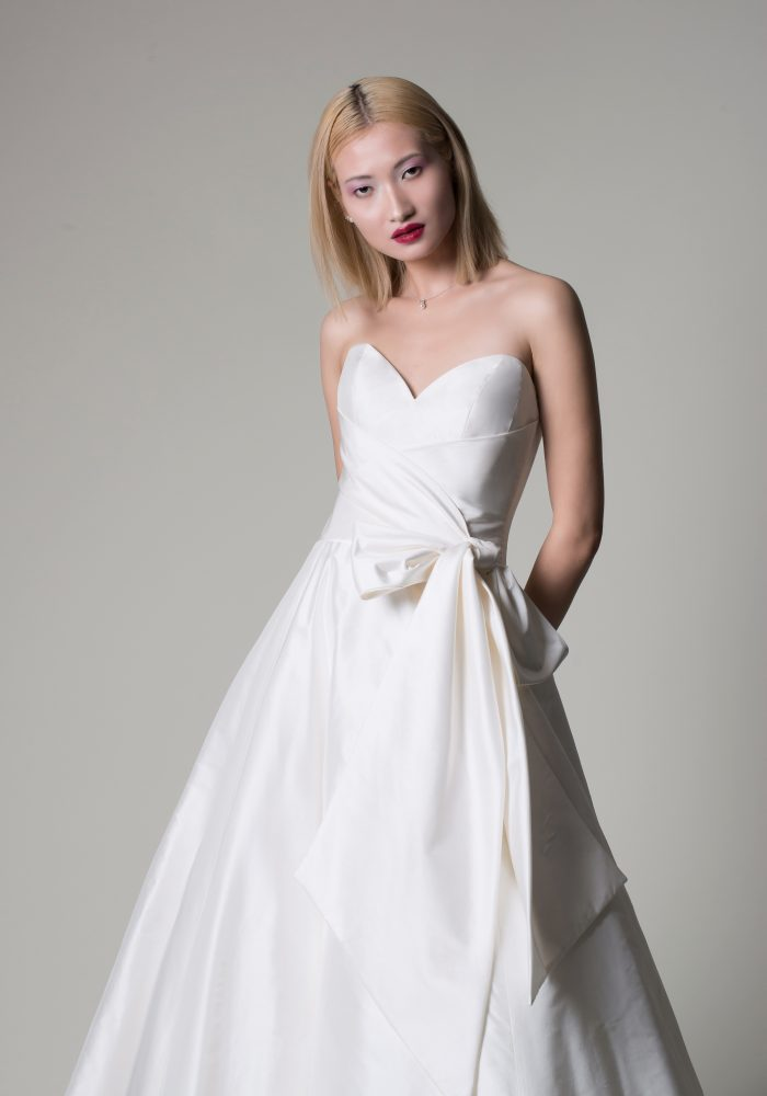 ballgown wedding dress in ivory mikado