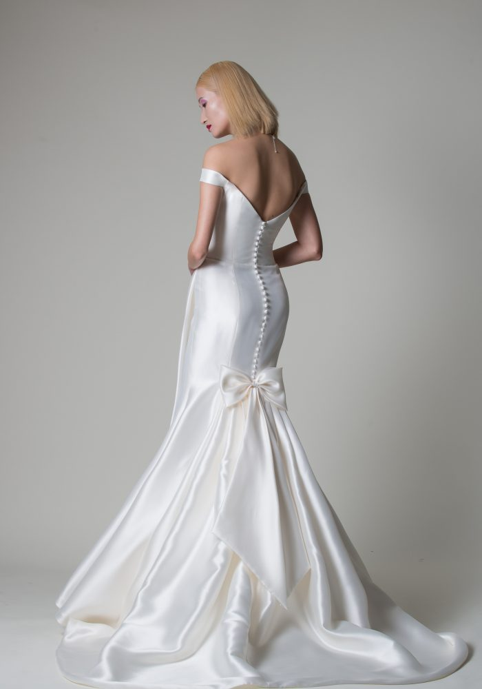 mikado wedding dress with buttons and fishtail skirt