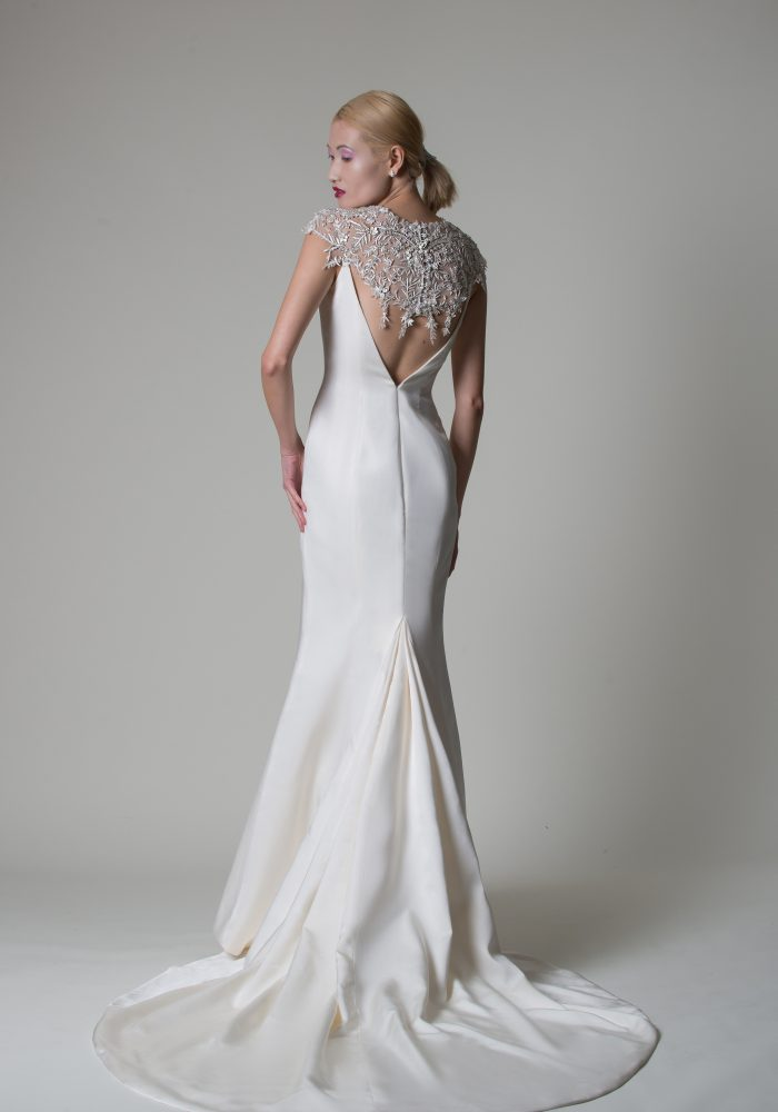 crepe wedding dress with beaded back details