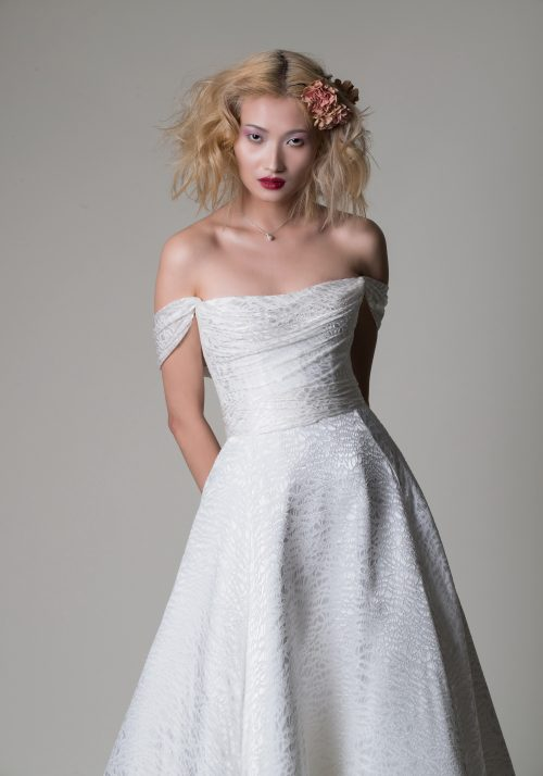 romantic wedding dress Alan Hannah jewellery