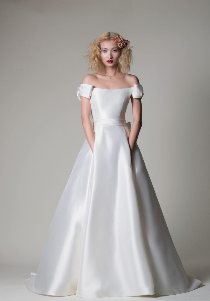 structured mikado wedding dress with bows on the shoulder