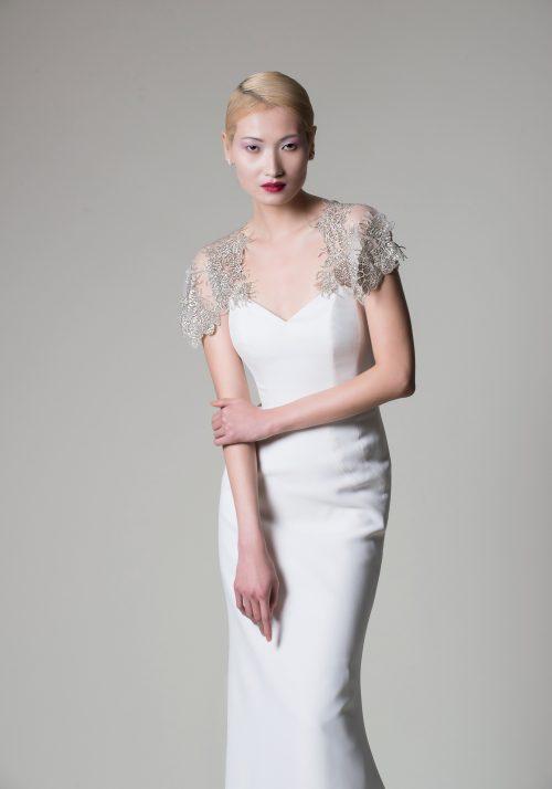 crepe beaded wedding dress