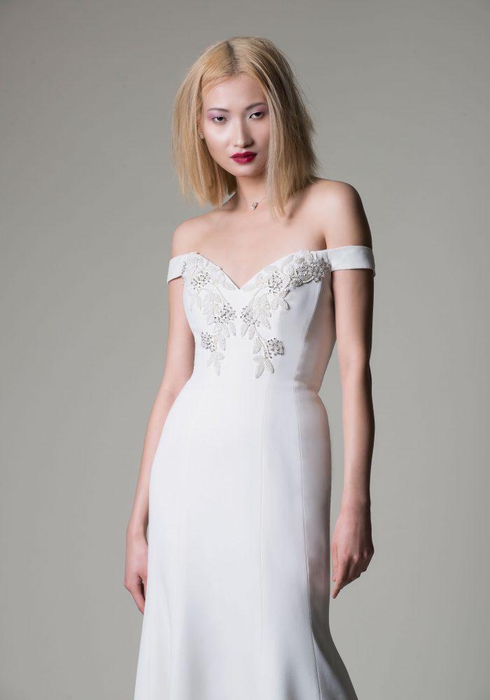 crepe figure hugging wedding dress