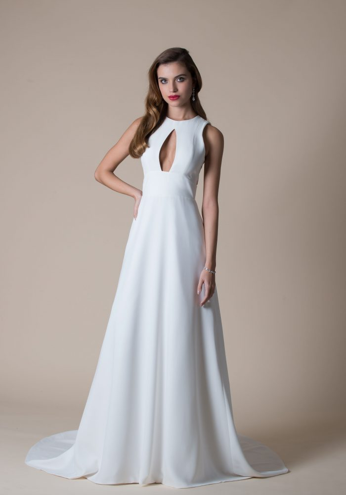 Stunning crepe wedding dress with keyhole front