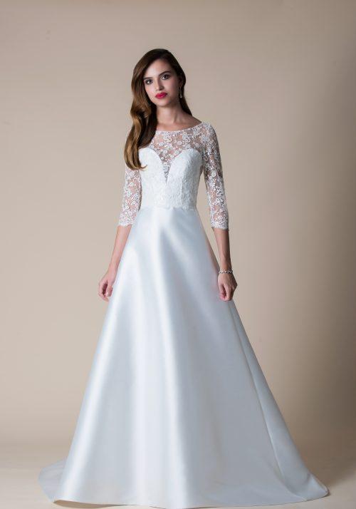 mikado wedding dress with a lace bodice