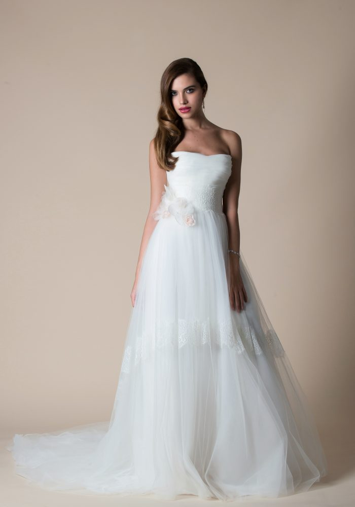soft tulle wedding dress with long train