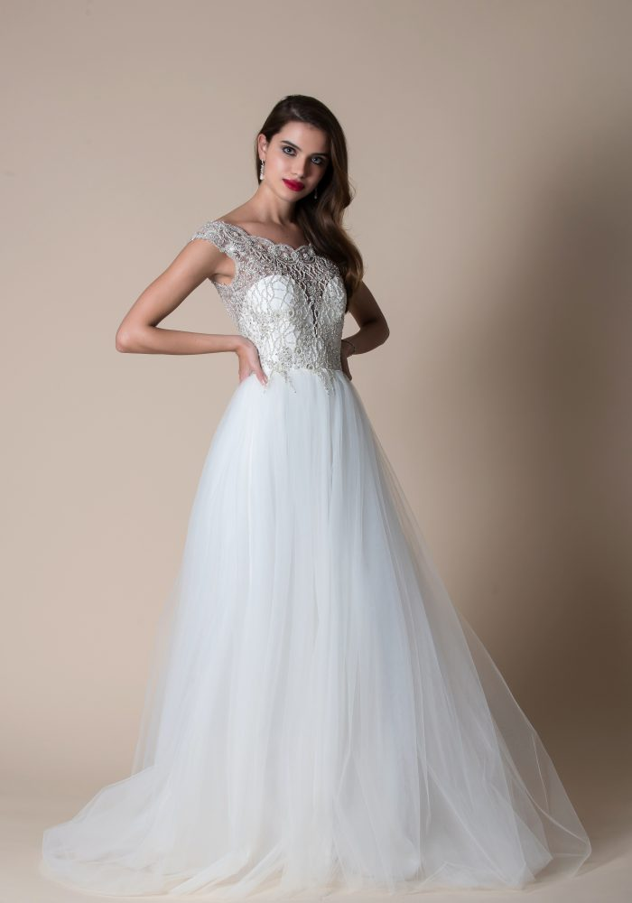 Hand beaded wedding dress with tulle skirt